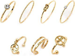 Multiple 7PCS Rings Set Stackable Midi Kunckle Anti-tarnished Real Gold Plated Minimalist Simple Thin Cute Dainty Rings Pack for Women Ladies Girls