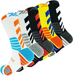 5 Pairs Men's Athletic Crew Socks Performance Thick Cushioned Sport Basketball Running Training Compression Sock
