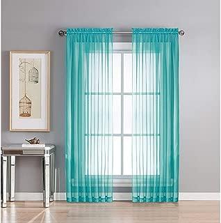 Imperium Comfort Sheer Voile Drapes Curtain Rod Pocket 2 Panels for Window, Kitchen, Bedroom (Set of 2 Panels 54