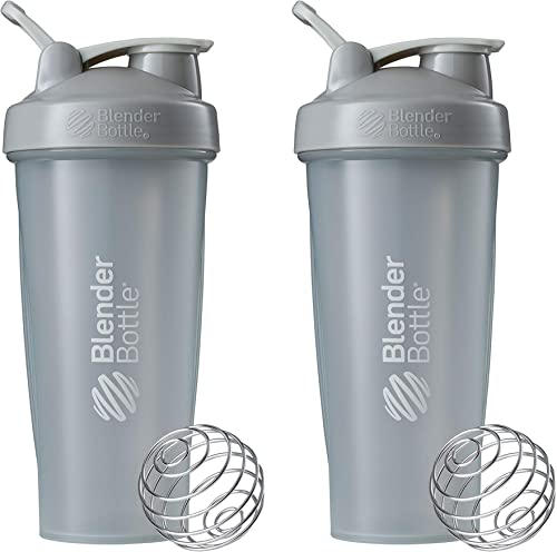 BlenderBottle Classic Shaker Bottle Perfect for Protein Shakes and Pre Workout, 28-Ounce (2 Pack), Pebble Grey