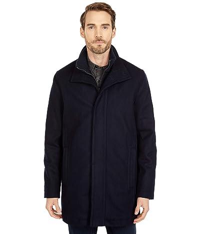 Cole Haan 34 Melton Wool Classic Stand Collar Car Coat (Navy) Men