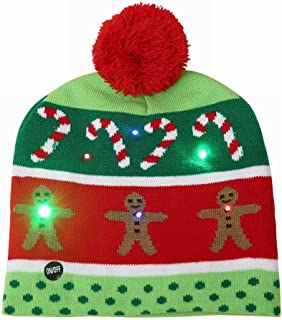 LED Light Up Christmas Hat Novelty Knitting Beanie Cap Winter Party Chirstmas