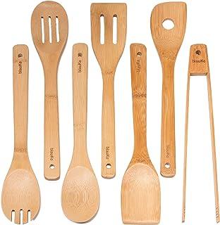 Juego de Utensilios de Cocina de Bambú - Set de 7 Utensilios de Cocina de Madera (Cucharas, Espátulas, Tenedor y Pinzas de Bambú) - Juego de Utensilios de Cocina Hechos de Bambú Natural - BlauKe