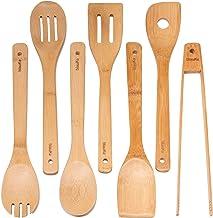 Bamboo Cooking Utensils Set - 7 Wooden Cooking Utensils (Bam