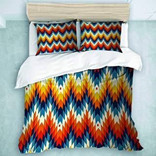 MOASTORY 3 Piece Duvet Cover Set, Navajo - Native American Pattern, Print Cartoon Bedding Set, Twin Size
