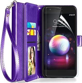 Axiay LG Aristo 2/Aristo 3 Case Wallet,LG Aristo 3 Plus/Tribute Empire/K8+/Fortune 2 Phone Case w Screen Protector,Kickstand Magnetic Card Slots Wrist Strap Flip Folio Shockproof Leather Case,Purple