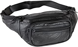 Home-X - Genuine Leather Lambskin Waist Bag Fanny Pack with RFID Protection, The Perfect to-Go Travel Bag for Men and Women of All Ages, Black