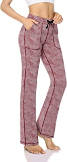 HISKYWIN Women's Drawstring Waist Workout Stretchy Yoga Pants Tummy Control Long Bootleg Flare Pants with Pockets