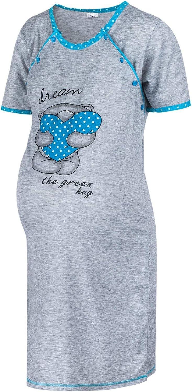 HAPPY MAMA Damen Mutterschaft Nachthemd Stillen /Öffnen Nachtw/äsche 1138