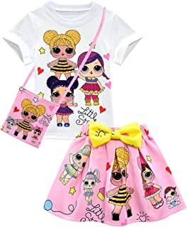 Camiseta de Baby Cute Dolls Confetti Pop + falda + bolso Lil Outrageous Little Girl Dress para niñas de Dgfstm