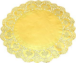 Felpudo de papel de encaje redondo dorado para tartas, 21,5 cm