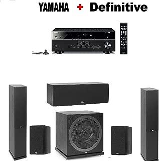 Yamaha Bluetooth Audio & Video Component Receiver Black (RX-V385BL) + Pair of Elac F5.2 Floorstanding + ELAC C5.2 Center + ELAC B5.2 Bookshelf (Pair) + ELAC SUB3010 Subwoofer Bundle