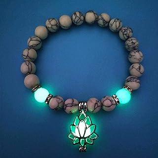 N-B Pierres Naturelles, Lumineux Brillant dans Le Bracelet à Breloques en Forme de Fleur de Lotus foncé pour Les Femmes Br...