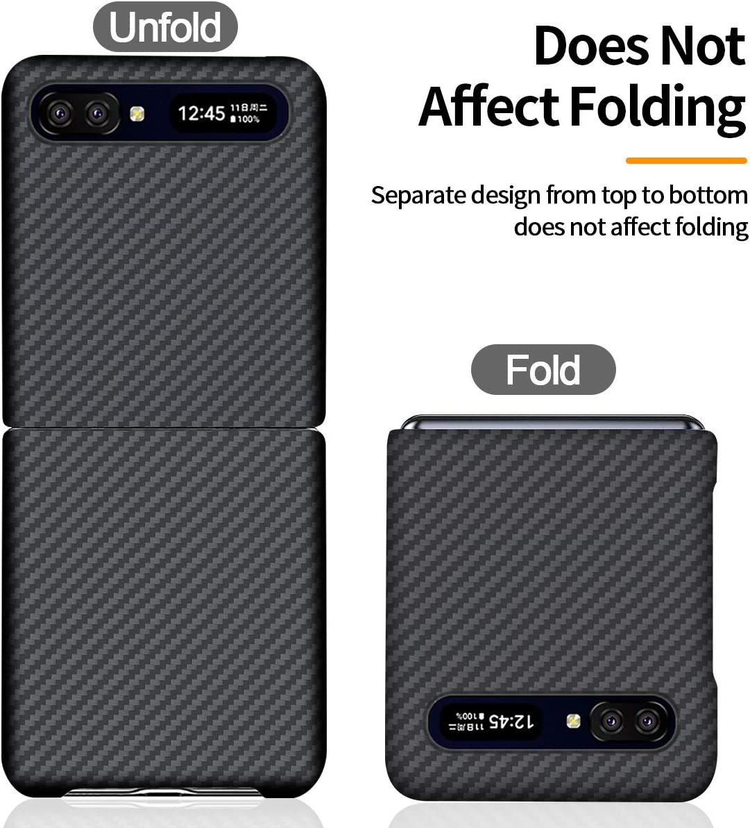 CENMASO Slim Case for Galaxy Z Flip, 3D-Grip100% Aramid Fiber Minimalist for Samsung Galaxy Z Flip 5G(2020)- Black