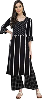 DesiNoor A Designer Bright Check & Stripe palazzo set on rayon Fabric in Black colour(DN136BLACK)