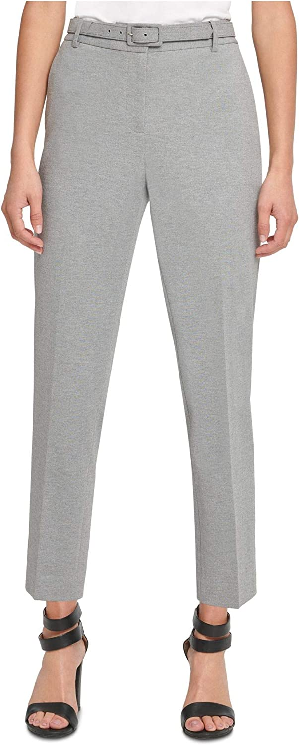 DKNY Womens Gray Belted Heather Straight Leg Wear to Work Pants Size 8P