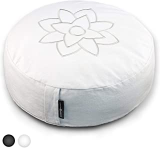 Mindful and Modern Large Zafu Meditation Pillow Cushion - Yoga Floor Pillow for Best Posture - Buckwheat Hull Filled Round Cushion with Removable Cover and Carry Handle
