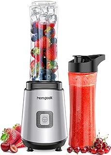 Batidora de vaso, homgeek Licuadora portátil 400W, con 2 botellas deportivas Tritan 600ML, sin BPA, para frutas, verduras ...