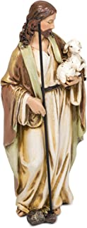 Roman Good Shepherd Jesus Christ with Lamb 6 Inch Resin Stone Tabletop Statue Figurine