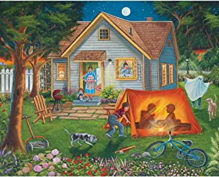 Bits and Pieces - 500 Piece Jigsaw Puzzle - Backyard Camping - Family Fun House Puzzle - by Artist Christine Carey - 500 pc Jigsaw