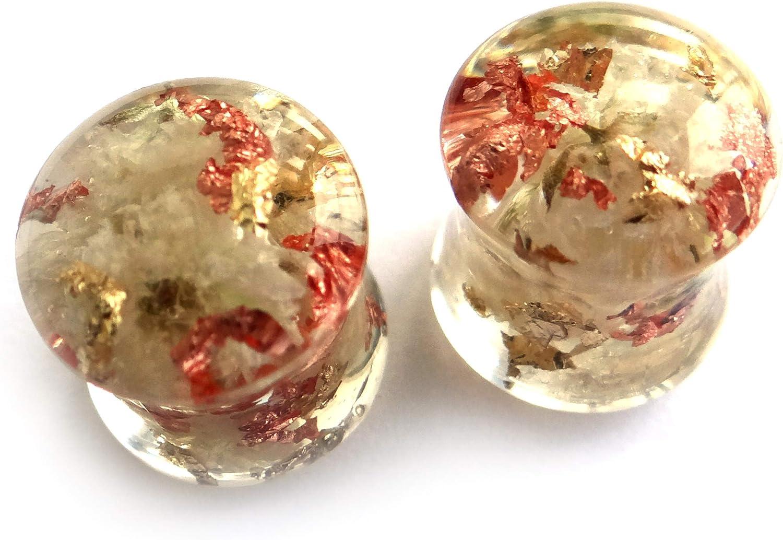 ETERNIADA White Flower Ear Plugs Wedding Earrings for Brides Birthday Gifts for Best Friend Pressed Flower Jewelry Resin Tunnels