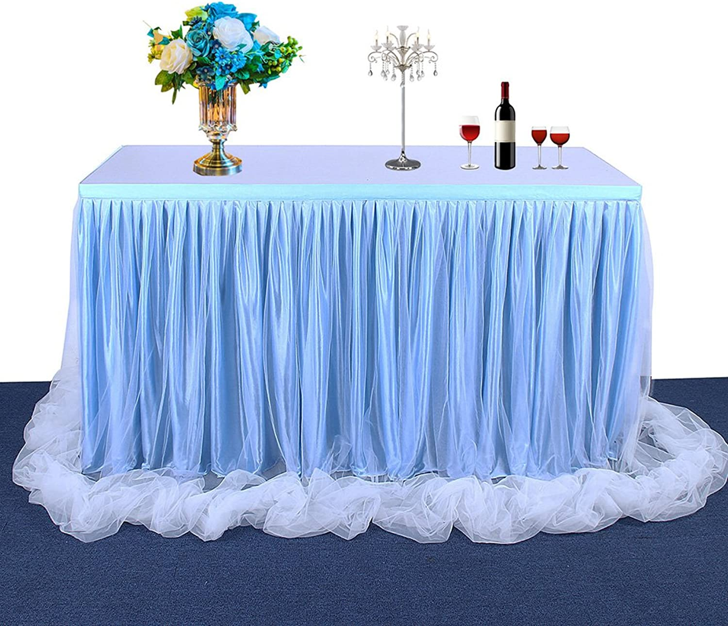 Ocamo Table Skirt Table Decoration Fashion color and Style with Tulle Elegant Party Wedding Decoration(Long Tulle) bluee; 14FT