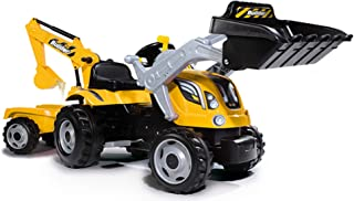 Smoby - Tracteur Builder Max + Remorque - Tractopelle Enfant - Siège Ajustable - Volant avec Klaxon - 710301