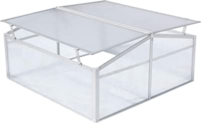 Hanover HANGHMN-2NAT Mini-Greenhouse Plant Protector-Lightweight and Portable, Natural/Silver