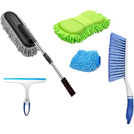 Winberg ® Car Cleaning Combo Pack Microfiber Duster Carpet Brush Washing Scurb Glass Wiper Microfibre Gloves Full Interior and Exterior Cleaning Kit - CarCLNG05