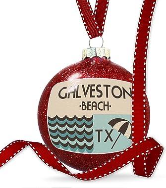 NEONBLOND Christmas Decoration US Beaches Vacation Galveston Beach Ornament