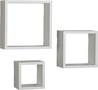 Melannco Floating Wall Mount Square Cube Shelves, set of 3, White - 5140525