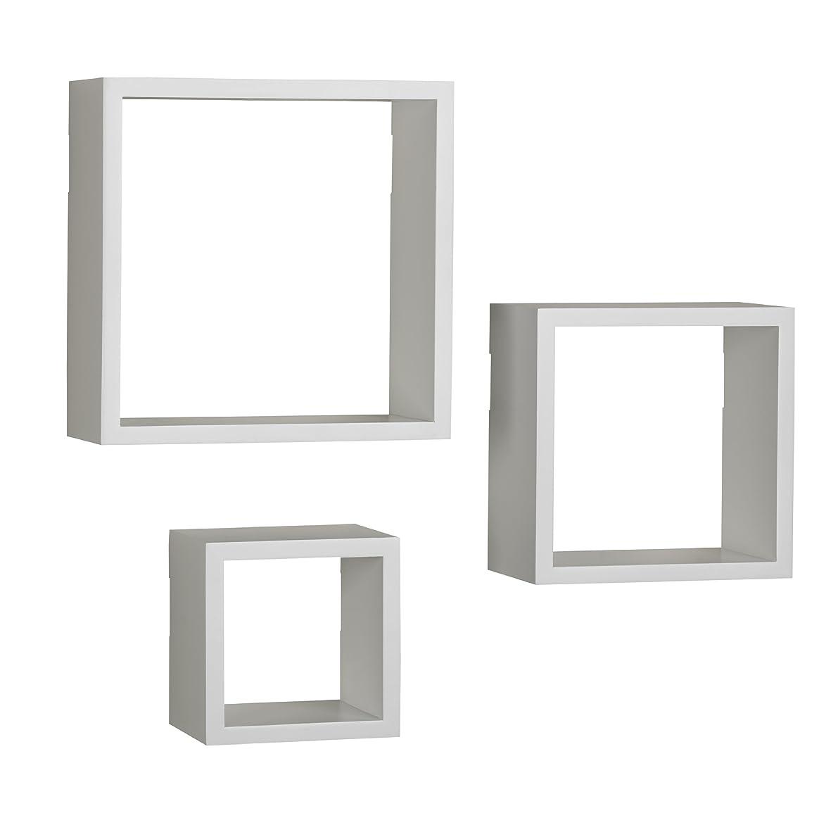 MELANNCO Floating Wall Mount Square Cube Shelves, Set of 3, White