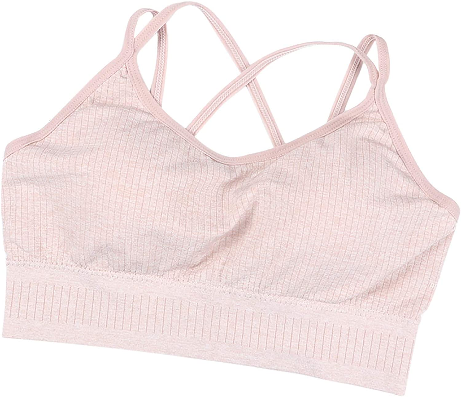Maryia Women's Comfort Revolution Seamless Wire Free Bra Jogging Sports Smart Sizes Full Fit Vest Pink