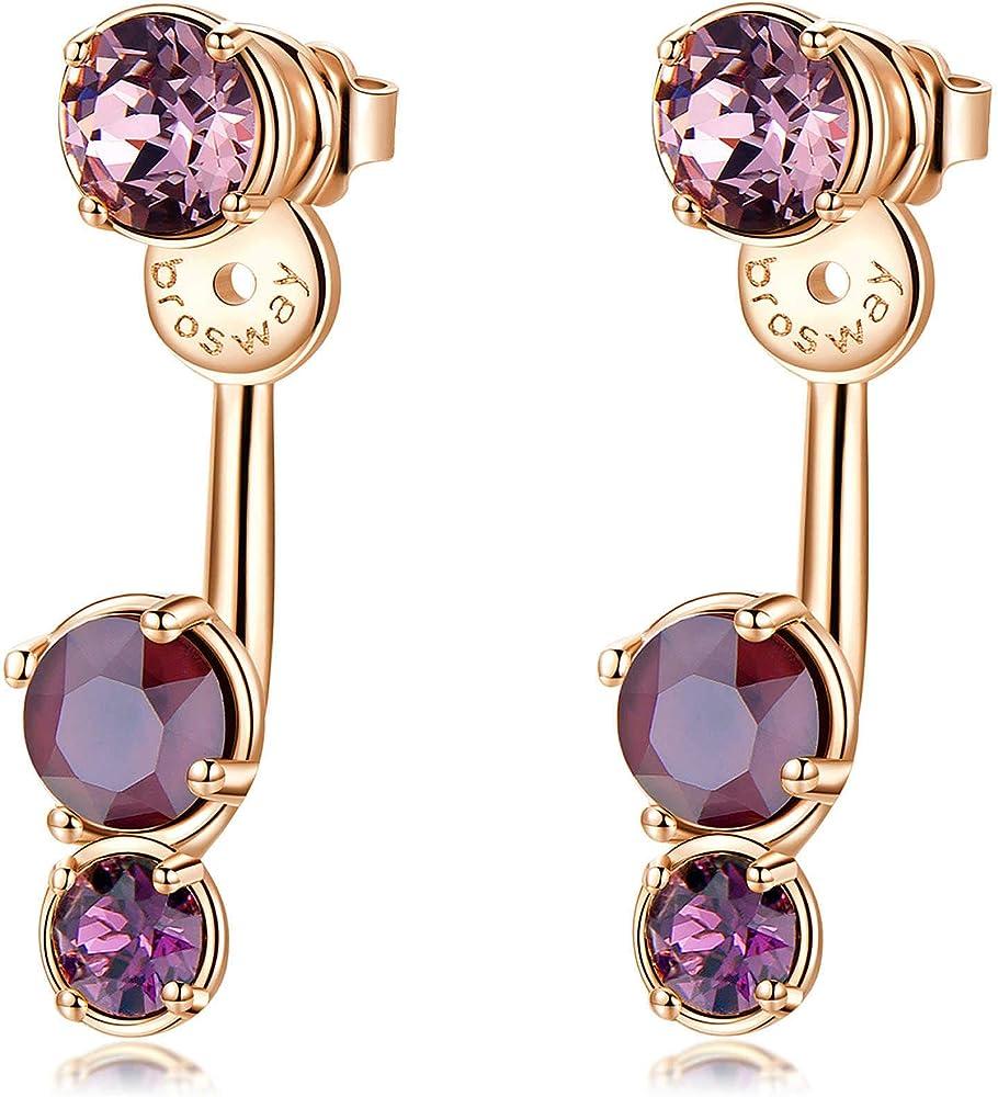 Brosway affinity trendy orecchini per donna in ottone con finitura in galvanica oro rosa e cristalli swarovski BFF74