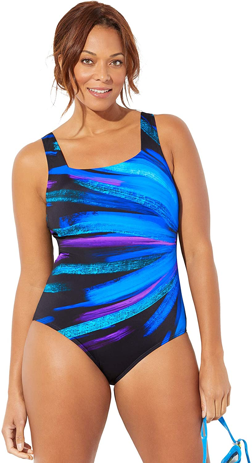 Swimsuits For All Women's Plus Size Chlorine Resistant Lycra Xtra Life Square Neck One Piece Swimsuit