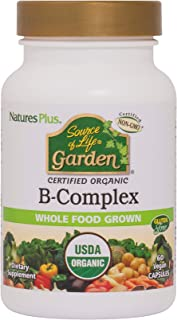NaturesPlus Source of Life Garden Certified Organic B Complex - 60 Vegan Capsules - Complete Vitamin B Supplement, Energy ...