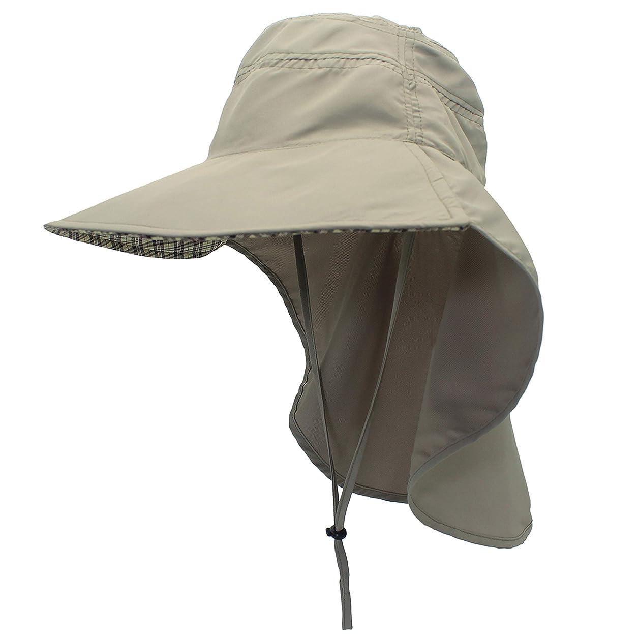 を通して官僚移動する日焼け防止帽子 UVカット 紫外線対策用ハット ガーデニング 帽子 ネックカバー つば広 顔 首筋カバー 日よけカバー サイズ調整可 ガーデニング 農作業 ハイキング アウトドア 男女兼用
