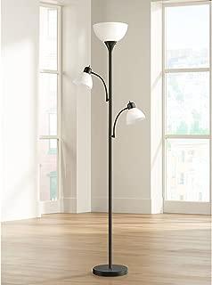 Bingham Modern Torchiere Floor Lamp 3-Light Tree Black Metal White Shades for Living Room Reading Bedroom Office Uplight - 360 Lighting