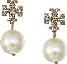 Tory Burch Women's Crystal Logo Pearl Drop Earrings