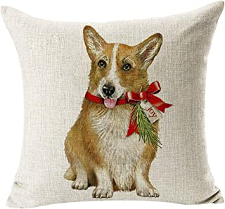 helegeSONG Merry Christmas Pattern Pillow Case Ornament, Xmas Animal Dog Linen Pillow Case Cushion Cover Sofa Bed Car Cafe Office Decor 8#