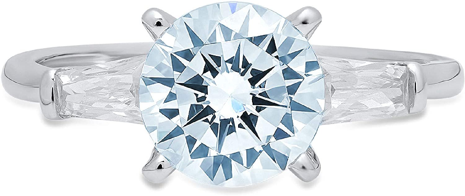 2.0 ct Round Baguette Cut 3 Solitaire Swi Classic Topics on trend rank TV stone Flawless