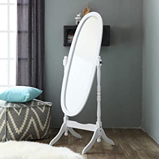 """Sponsored Ad - Livinia Ashely Wooden Cheval Floor Free Standing Mirror - 60.2"""" Rotatable Portable Mirror with Oval Body, C..."""