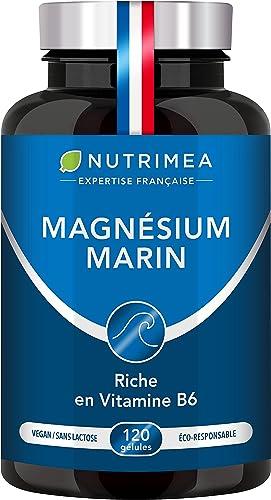 Magnésium Marin et Vitamine B6 | Combat Efficacement la Fatigue | 150 mg/jour | 120 Gélules d'Origine Végétale | 4 Mo...