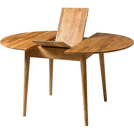 NORDICSTORY Escandi 3 Table de salle à manger ronde extensible en bois massif chêne, fermée 100 cm et ouverte 130 cm, idéale pour cuisine et salon, meubles de style nordique couleur chêne naturel