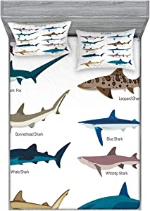 Ambesonne Shark Fitted Sheet & Pillow Sham Set, Types of Sharks Pattern Whaler Piked Dogfish Whlae Shark Maritime Design Nautical, Decorative Printed 3 Piece Bedding Decor Set, King, Blue Tan