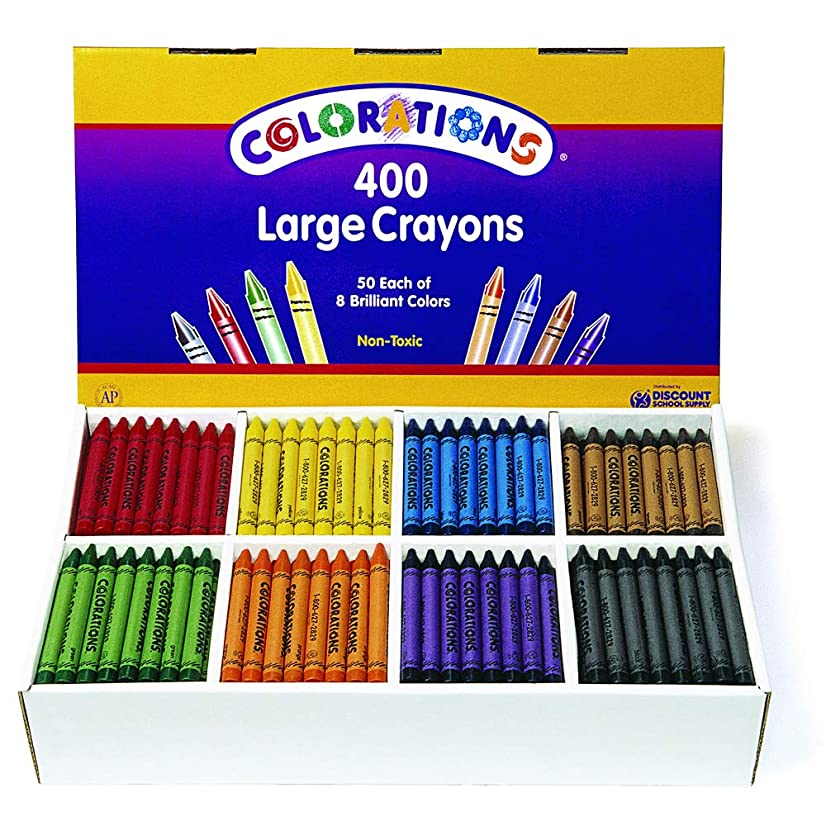 Colorations CLBIGS Large Crayons, 8 Colors (Pack of 400)