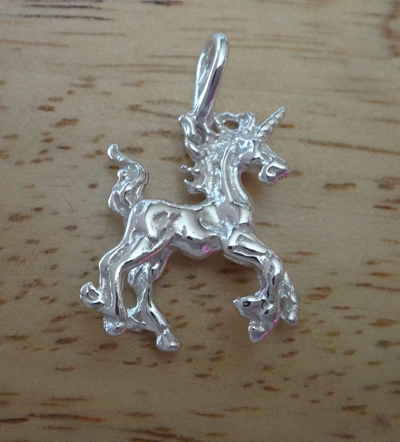 Sterling Silver 3D 27x19mm Bright Max 49% OFF Unicorn Under blast sales Charm Magical by Whol