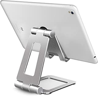 Hi-Tech Wireless Compatible with iPad Stand, Tablet Stand Holders, Cell Phone Stands, iPhone Stand, Nintendo Switch Stand, iPad Pro Stand, iPad Mini Stands and Holders for Desk (B-Silver-2)