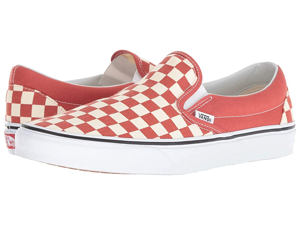 Vans Classic Slip-Ontm ((Checkerboard) Hot Sauce/True White) Skate Shoes
