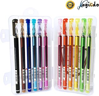 Magicdo 12 Cols Gel Pens set, Cute Diamond Head Roller Ball Pens Professional Artist Quality Gel Ink Roller Pens, Fine Tip Color Rolling Pens For Sketching Doodling and Writing (HY1017)